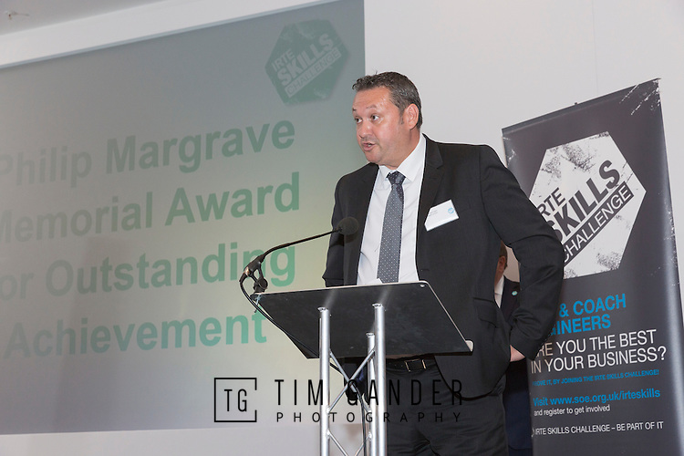 17/07/2015 The IRTE Skills Challenge 2015 prize-giving takes place at The National Motorcycle Museum, Birmingham. Richard Harrington of Go Ahead London introduces the Philip Margrave award.