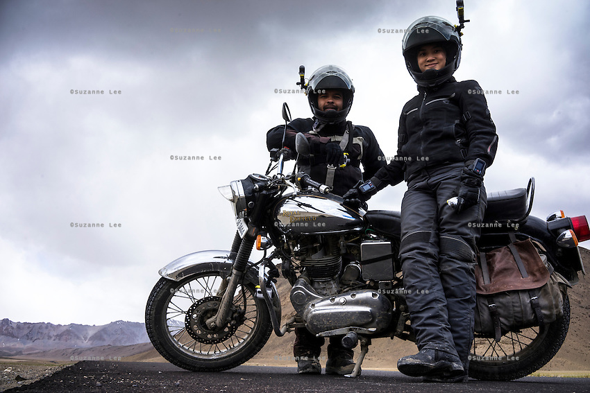 Panos Photographers Suzanne Lee and Sanjit Das while riding through some of the World's Highest Motorable roads as they went Across the Himalayas in the Valley of Ladakh, India, on Royal Enfield motorcycles in June 2014. A resulting 4 minute short film was made, all shot on an arsenal of Sony ActionCam video cameras.
