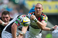 Mike Brown of Harlequins passes during the Aviva Premiership match between London Wasps and Harlequins at Twickenham on Saturday 1st September 2012 (Photo by Rob Munro).