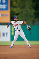 Buffalo Bisons shortstop Richard Urena (8) throws to first base during a game against the Syracuse Chiefs on September 2, 2018 at NBT Bank Stadium in Syracuse, New York.  Syracuse defeated Buffalo 4-3.  (Mike Janes/Four Seam Images)