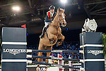 Team Flames: Rider Simon Delestre of France and Jockey Derek Leung of China compete during the Hong Kong Jockey Club Race of the Riders, part of the Longines Masters of Hong Kong on 10 February 2017 at the Asia World Expo in Hong Kong, China. Photo by Marcio Rodrigo Machado / Power Sport Images