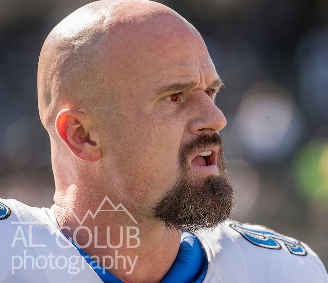 Oakland Raiders vs Detroit Lions at O.co Coliseum Saturday, August 25, 2012. Raiders defeated Lions 31-20 in a preseason game..Detroit Lions defensive end Kyle Vanden Bosch (93) with his red eyes..