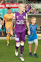 25th March 2018, nib Stadium, Perth, Australia; A League football, Perth Glory versus Melbourne Victory; Andy Keogh of the Perth Glory leads his team onto the pitch before the start of the game against Melbourne Victory