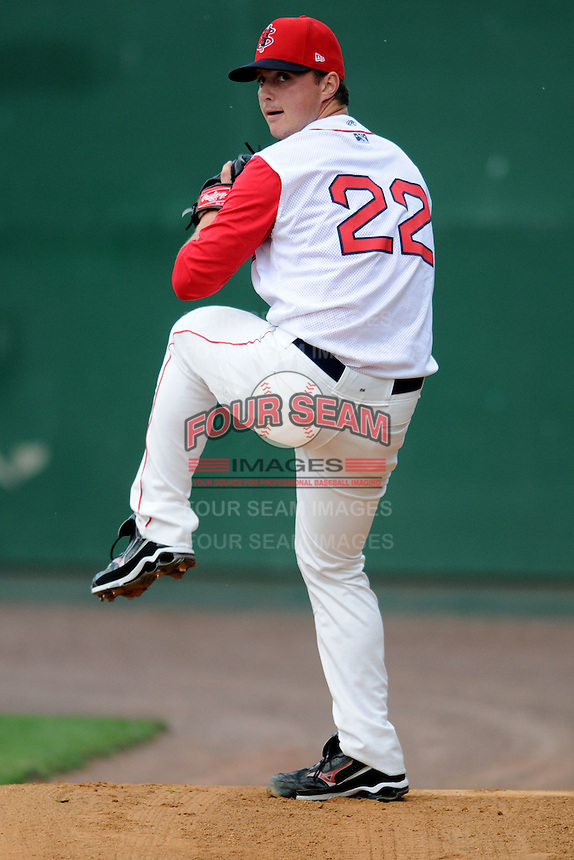 Lowell Spinners pitcher Mike Augliera #22 prior to a game versus the State College Spikes at LeLacheur Park in Lowell, Massachusetts on July 29, 2012.  (Ken Babbitt/Four Seam Images)