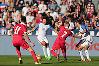 San Diego, CA - Sunday January 29, 2017: Benny Feilhaber, Srdjan Plavsic during an international friendly between the men's national teams of the United States (USA) and Serbia (SRB) at Qualcomm Stadium.