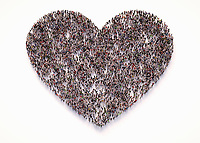Overhead view of crowd of people forming heart shape
