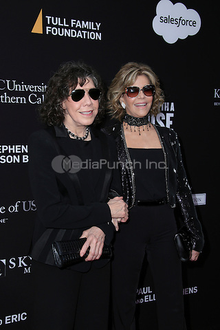 SANTA MONICA, CA - MAY 11: Lily Tomlin, Jane Fonda arrives at the 3rd Biennial Rebels With A Cause Fundraiser at Barker Hangar on May 11, 2016 in Santa Monica, California.  Credit: Parisa/MediaPunch.