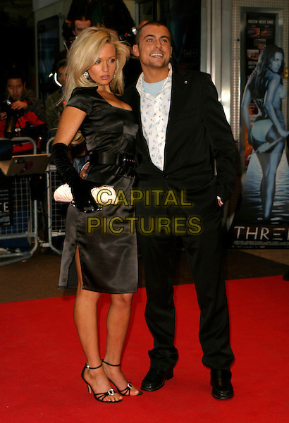 "NICCI LEGG & PAUL DANAN.Arrivals for the World Premiere of ""Three"", .Odeon West End, London, England, .May 2nd 2006..full length black satin dress nikki nicki.REf: AH.www.capitalpictures.com.sales@capitalpictures.com.©Adam Houghton/Capital Pictures."