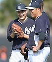 (L-R) Masahiro Tanaka, Hiroki Kuroda (Yankees),<br /> FEBRUARY 15, 2014 - MLB :<br /> New York Yankees spring training camp in Tampa, Florida, United States. (Photo by AFLO)