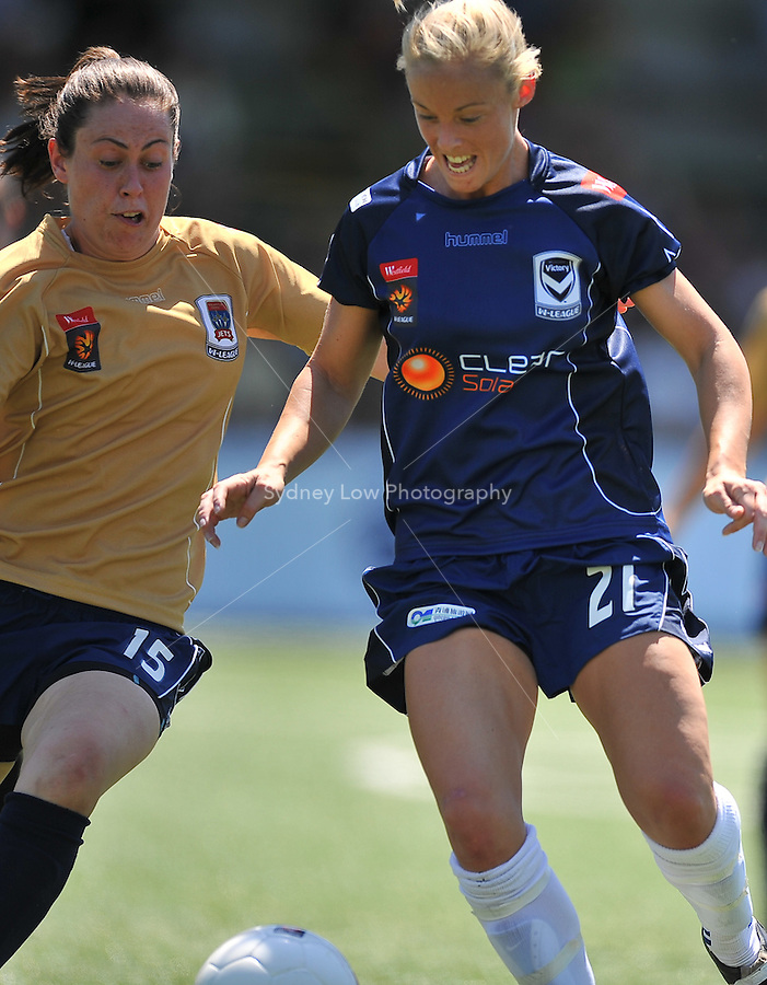 MELBOURNE, AUSTRALIA - OCTOBER 31: Kara MOWBRAY from Melbourne Victory chases the ball in round 5 of the Westfield W-league match between Melbourne Victory and Newcastle Jets at the Veneto Club on October 31, 2009 in Melbourne, Australia. Photo Sydney Low www.syd-low.com