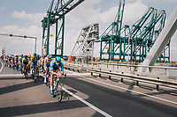 peloton racing through the Port of Antwerp<br /> <br /> Antwerp Port Epic 2018 (formerly &quot;Schaal Sels&quot;)<br /> One Day Race:  Antwerp &gt; Antwerp (207 km; of which 32km are cobbles &amp; 30km is gravel/off-road!)