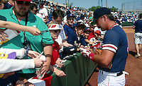 Boston Red Sox Mike Greenwell signs autographs during Spring Training 1993 at City of Palms Park in Fort Myers, Florida.  (MJA/Four Seam Images)