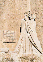 Cryptogram and Judas betrayal of Christ sculpture, Basilica Sagrada Família, Barcelona, Spain