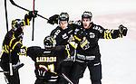 Stockholm 2014-10-02 Ishockey Hockeyallsvenskan AIK - BIK Karlskoga :  <br /> AIK:s Joakim Hagelin firar sitt 2-1 m&aring;l med Christian Sandberg och lagkamrater<br /> (Foto: Kenta J&ouml;nsson) Nyckelord:  AIK Gnaget Hockeyallsvenskan Allsvenskan Hovet Johanneshovs Isstadion Bofors BIK Karlskoga jubel gl&auml;dje lycka glad happy