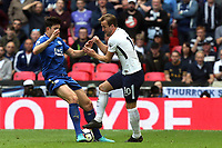 Harry Kane of Tottenham Hotspur and Harry Maguire of Leicester City during Tottenham Hotspur vs Leicester City, Premier League Football at Wembley Stadium on 13th May 2018