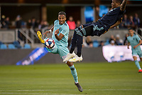 San Jose, CA - Saturday April 20, 2019: A Major League Soccer (MLS) match between the San Jose Earthquakes and Sporting Kansas City at Avaya Stadium.