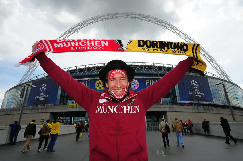 A Bayern Munich fan outside Wembley Stadium ahead of the 2013 Champions League Final.. (Photo by Chris Vaughan/CameraSport) .Football - UEFA Champions League Final - Borussia Dortmund v Bayern Munich - Saturday 25th May 2013 - Wembley - London..© CameraSport - 43 Linden Ave. Countesthorpe. Leicester. England. LE8 5PG - Tel: +44 (0) 116 277 4147 - admin@camerasport.com - www.camerasport.com