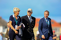 Prince Andrew with Dr. Maureen Richmond (Ladies Captain Royal Liverpool) and Tudor Williams (Captain Royal Liverpool) walking up the 2nd during Day 2 Singles at the Walker Cup, Royal Liverpool Golf CLub, Hoylake, Cheshire, England. 08/09/2019.<br /> Picture Thos Caffrey / Golffile.ie<br /> <br /> All photo usage must carry mandatory copyright credit (© Golffile | Thos Caffrey)