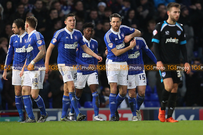 Tommy Oar of Ipswich Town (15) scores the first goal for his team and celebrates with his team mates during Ipswich Town vs Portsmouth at Portman Road