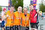 Tomas Hayes, Pat Sullivan, Richard Carey and Damian Nagle celebrate at the finish of the Ring of Kerry cycle in Killarney on Saturday