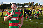 Grant Henson addresses the crowd at the conclusion of the Counties Manukau Premier Club Rugby final between Patumahoe & Waiuku played at Bayers Growers Stadium Pukekohe on Saturday August 8th 2009. Patumahoe won 11 - 9 after leading 11 - 6 at halftime.