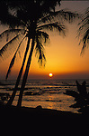 Sunset on the Kona coast of the big Island, Hawaii USA