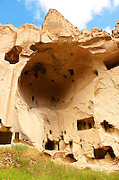 Troglodyte cave houses in tuff volcanic rock at Uchisar, Cappadocia, Anatolia, Turkey