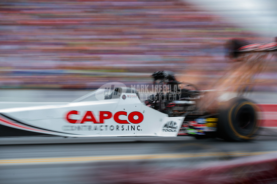 Mar 16, 2019; Gainesville, FL, USA; NHRA top fuel driver Steve Torrence during qualifying for the Gatornationals at Gainesville Raceway. Mandatory Credit: Mark J. Rebilas-USA TODAY Sports