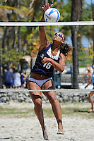6 April 2013:  FIU's Jessica Gehrke (15) hits a kill shot as the FIU Golden Panthers defeated the Florida Gulf Coast University Eagles, 5-0, to win the Doctor's Hospital FIU South Beach Invitational match at Lummus Park Beach on Miami Beach, Florida.
