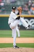 Charlotte Knights relief pitcher Will Lamb (15) in action against the Gwinnett Braves at BB&T BallPark on May 22, 2016 in Charlotte, North Carolina.  The Knights defeated the Braves 9-8 in 11 innings.  (Brian Westerholt/Four Seam Images)