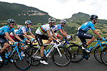 World Champion Alejandro Valverde (ESP) and Movistar Team control the pace of the peloton on the 2nd climb during Stage 1 of the Route d'Occitanie 2019, running 175.5km from Gignac-Vallée de l'Hérault to Saint-Geniez-d'Olt-et-d'Aubrac , France. 20th June 2019<br /> Picture: Colin Flockton | Cyclefile<br /> All photos usage must carry mandatory copyright credit (© Cyclefile | Colin Flockton)
