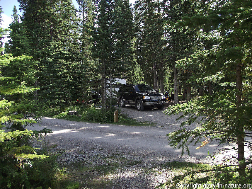 The waters of Fish Lake, Alberta, and the surrounding habitat--great for camping.
