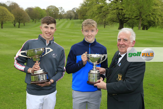 John Ferriter (Chairman Leinster Golf) presenting winner Aaron Marshall (Lisburn) with the 2017 Leinster Boys Amateur Open Championship trophy after his victory at Headfort Golf Club in the final round of the Leinster Boys, Headford Golf Club, Kells, Co. Meath. Also pictured Alex Maguire, Laytown &amp; Bettystown (Under 17 Winner) 21/04/2017.<br /> Picture: Golffile | Fran Caffrey<br /> <br /> <br /> All photo usage must carry mandatory copyright credit (&copy; Golffile | Fran Caffrey)