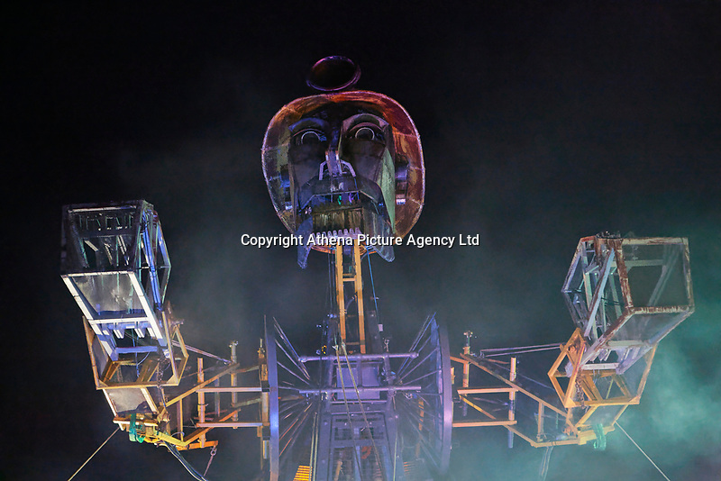 Pictured: The Man Engine at the Copper Works in Morfa, Swansea, Wales, UK. Thursday 12 April 2018<br /> Re: The largest mechanical puppet in Britain starts its tour across south Wales.<br /> Man Engine, a mechanical miner which measures 36ft (11m) tall, has appeared at the Waterfront Museum and the former Copper Works in Swansea, Wales, animated by a dozen handlers.<br /> The giant is visiting areas linked to the nation's industrial past.