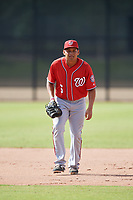 Washington Nationals Aldrem Corredor (5) doing pitching drills before a Minor League Spring Training game against the Miami Marlins on March 28, 2018 at FITTEAM Ballpark of the Palm Beaches in West Palm Beach, Florida.  (Mike Janes/Four Seam Images)
