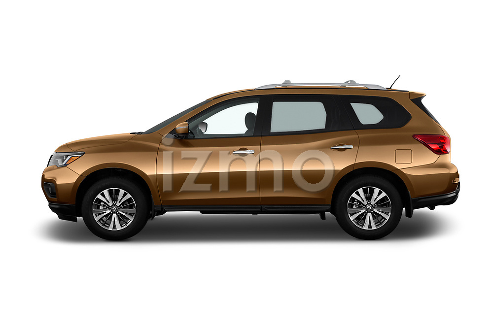 Car Driver side profile view of a 2018 Nissan Pathfinder S 5 Door SUV Side View