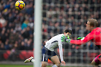Tottenham Hotspur's Son Heung-Min scores his side's second goal <br /> <br /> Photographer Craig Mercer/CameraSport<br /> <br /> The Premier League - Tottenham Hotspur v Huddersfield Town - Saturday 3rd March 2018 - Wembley Stadium - London<br /> <br /> World Copyright &copy; 2018 CameraSport. All rights reserved. 43 Linden Ave. Countesthorpe. Leicester. England. LE8 5PG - Tel: +44 (0) 116 277 4147 - admin@camerasport.com - www.camerasport.com