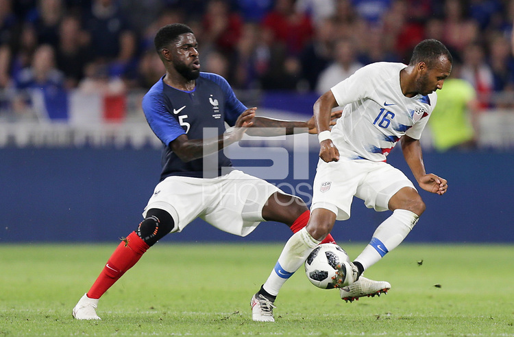 Lyon, France - Saturday June 09, 2018: Samuel Umtiti, Julian Green during an international friendly match between the men's national teams of the United States (USA) and France (FRA) at Groupama Stadium.