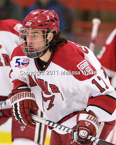 Rence Coassin (Harvard - 17) - The Harvard University Crimson defeated the St. Lawrence University Saints 4-3 on senior night Saturday, February 26, 2011, at Bright Hockey Center in Cambridge, Massachusetts.