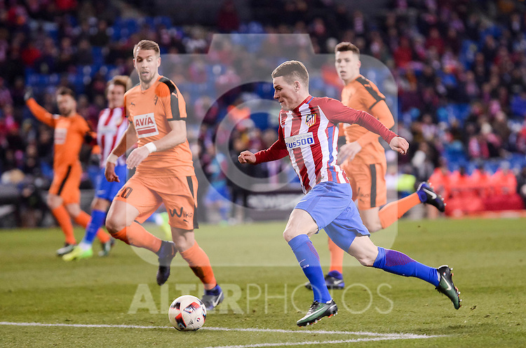 Atletico de Madrid's Kevin Gameiro and SD Eibar's Florian Lejeune during Copa del Rey match between Atletico de Madrid and SD Eibar at Vicente Calderon Stadium in Madrid, Spain. January 19, 2017. (ALTERPHOTOS/BorjaB.Hojas)