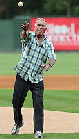 NASCAR racing legend David Pearson throws out the first pitch prior to a game between  the Lakewood BlueClaws and the  Greenville Drive on July 13, 2011, at Fluor Field at the West End in Greenville, South Carolina. (Tom Priddy/Four Seam Images)