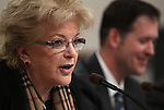 Las Vegas Mayor Carolyn Goodman testifies in committee at the Legislative Building in Carson City, Nev., on Wednesday, Feb. 27, 2013. Redevelopment director William Arent is at right..Photo by Cathleen Allison