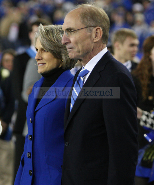 President Eli Capilouto and Dr. Mary Lynne Capilouto during halftime of the University of Kentucky Homecoming football game against Alabama State at Commonwealth Stadium in Lexington, Ky., on Saturday, November 2, 2013. Photo by Tessa Lighty | Staff