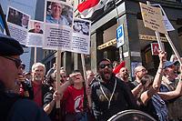 Milano, 25 Aprile 2015, Manifestazione per il 70° anniversario della Liberazione dal nazifascismo. Contestazione dei sostenitori della Palestina contro la Brigata Ebraica.Milan, April 25, 2015, Demonstration for the 70th anniversary of liberation from fascism. Protest of supporters of Palestine against the Jewish Brigade.