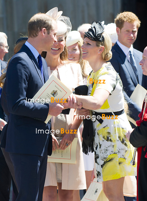 PRINCE WILLIAM, KATE MIDDLETON AND ZARA (nee Phillips) TINDALL<br /> joined other members of the Royal Family for  A Service to Celebrate the Queen's 60th Anniversary of the Coronation Service at Westminster Abbey, London_04/06/2013<br /> Members of the Royal Family attending the Service included The Prince of Wales and The Duchess of Cornwall, The Duke and Duchess of Cambridge, Prince Henry of Wales, The Duke of York and Princesses Beatrice and Eugenie, The Earl and Countess of Wessex and The Lady Louise Mountbatten-Windsor, The Princess Royal, Vice Admiral Sir Tim Laurence, Peter Phillips and Autumn (Kelly) Phillips, Zara (Phillips) Tindall and Mike Tindall, The Duke and Duchess of Gloucester, The Duke and Duchess of Kent, Prince and Princess Michael of Kent