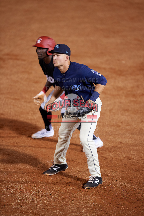Mobile BayBears first baseman Matt Thaiss (21) in front of Nick Gordon (1) during a game against the Chattanooga Lookouts on May 5, 2018 at Hank Aaron Stadium in Mobile, Alabama.  Chattanooga defeated Mobile 11-5.  (Mike Janes/Four Seam Images)