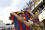 F.C. Barcelona´s supporter during the Spanish Copa del Rey `King´s Cup´ final soccer match between Real Madrid and F.C. Barcelona at Mestalla stadium, in Valencia, Spain. April 16, 2014. (ALTERPHOTOS/Victor Blanco)