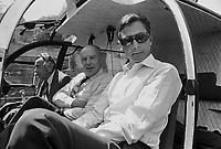 - Umberto Agnelli, tycoon of FIAT in helicopter  (1976)....- Umberto Agnelli (FIAT) in elicottero (1976)
