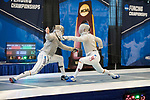 UNIVERSITY PARK, PA - MARCH 25: Andrew Mackiewicz of Penn State University takes on Eli Dershwitz of Harvard University during the semifinals of the  saber competition during the Division I Men's Fencing Championship held at the Multi-Sport Facility on the Penn State University campus on March 25, 2018 in University Park, Pennsylvania. (Photo by Doug Stroud/NCAA Photos via Getty Images)