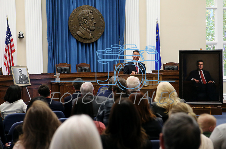 Gov. Brian Sandoval speaks to a large crowd after he unveils his official portrait during a ceremony at the Capitol in Carson City, Nev., on Thursday, Oct. 25, 2018. <br /> Photo by Cathleen Allison/Nevada Momentum